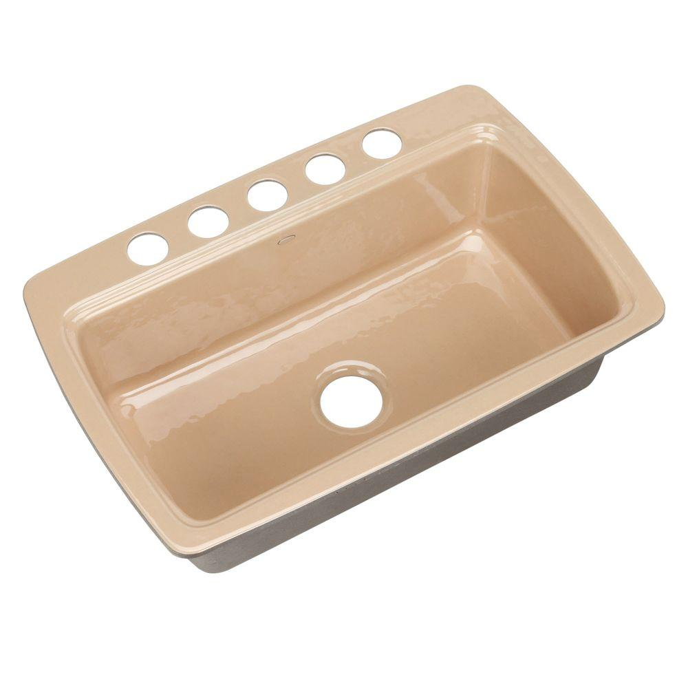 KOHLER Cape Dory Undermount Cast Iron 33 in. 5-Hole Single Bowl Kitchen Sink in Mexican Sand