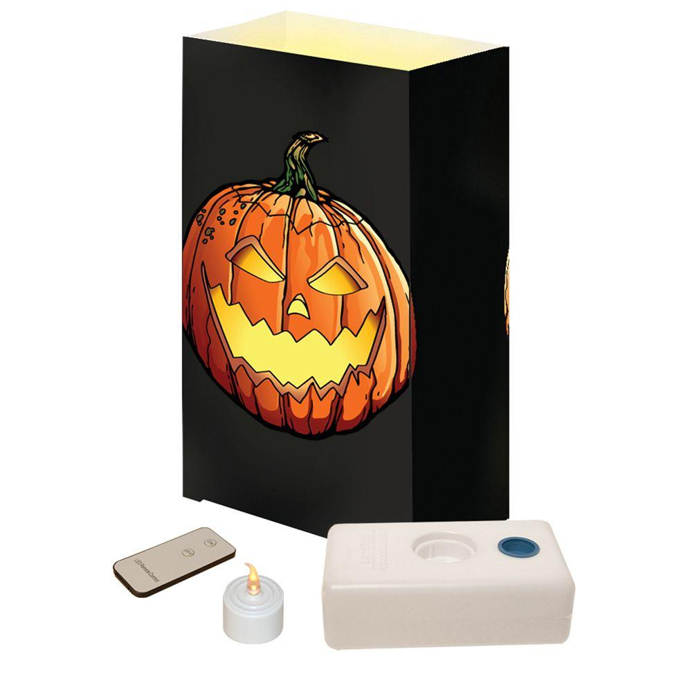 Lumabase LED Jack-O'-Lantern Luminaria Kit with Remote (Pack of 10)