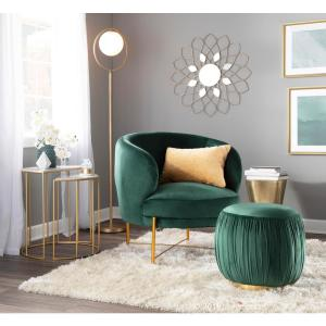 Lumisource Chloe Emerald Green Velvet and Gold Accent Chair ...