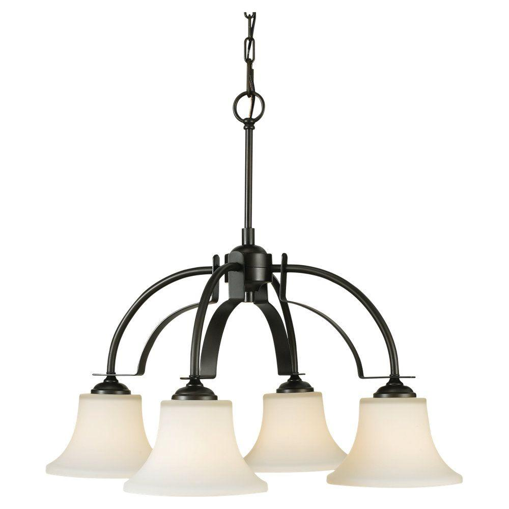 Sea Gull Lighting Barrington 26 in. W. 4-Light Oil Rubbed Bronze Chandelier with Opal Etched Glass Shades