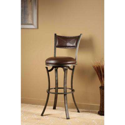 Drummond 30 in. Rubbed Pewter and Brown Swivel Bar Stool
