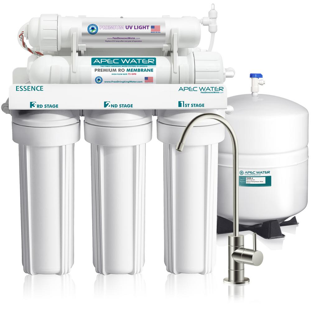 Essence Under Counter Reverse Osmosis UV Disinfecting 75 GPD 6-Stage Drinking