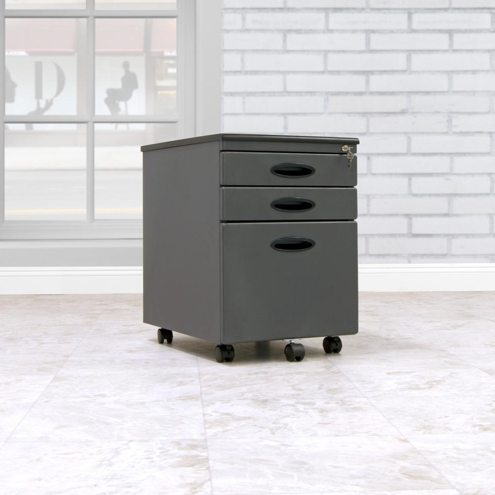 D Pewter Metal 3 Drawer Mobile File Cabinet With Lock And Key