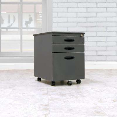 Letter / Legal 15.75 in. W x 22 in. D Pewter Metal 3-Drawer Mobile File Cabinet with Lock and Key