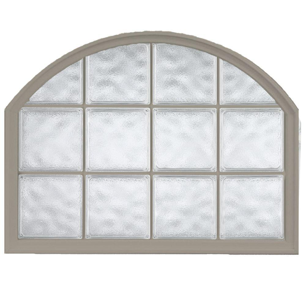 Hy-Lite 42 in. x 50 in. Acrylic Block Arch Top Vinyl Window - Driftwood