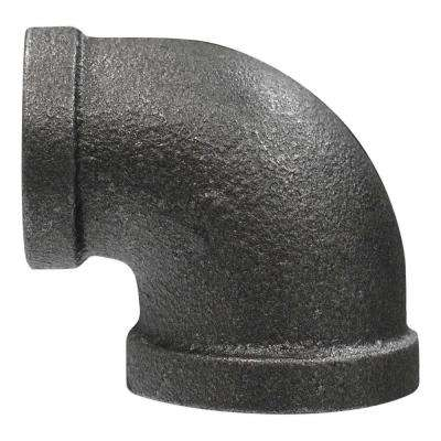 1/2 in. x 3/8 in. Black Malleable Iron 90-Degree Reducing Elbow
