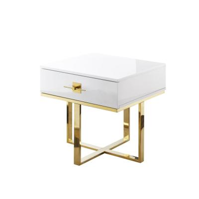 Maui White/Gold Side Table 1-Drawer