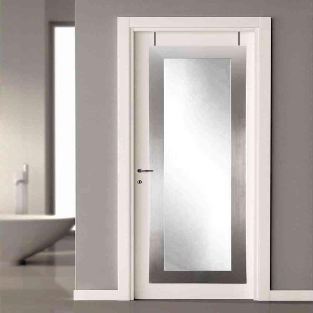 21.5 in. x 71 in. Silver Over the Door Full Length Framed Mirror