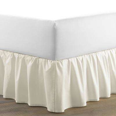78 in. x 80 in. Solid Beige King Ruffled Bed Skirt