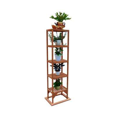 20 in. W x 15 in. D x 63 in. H Brown Wooden Tower Plant Stand