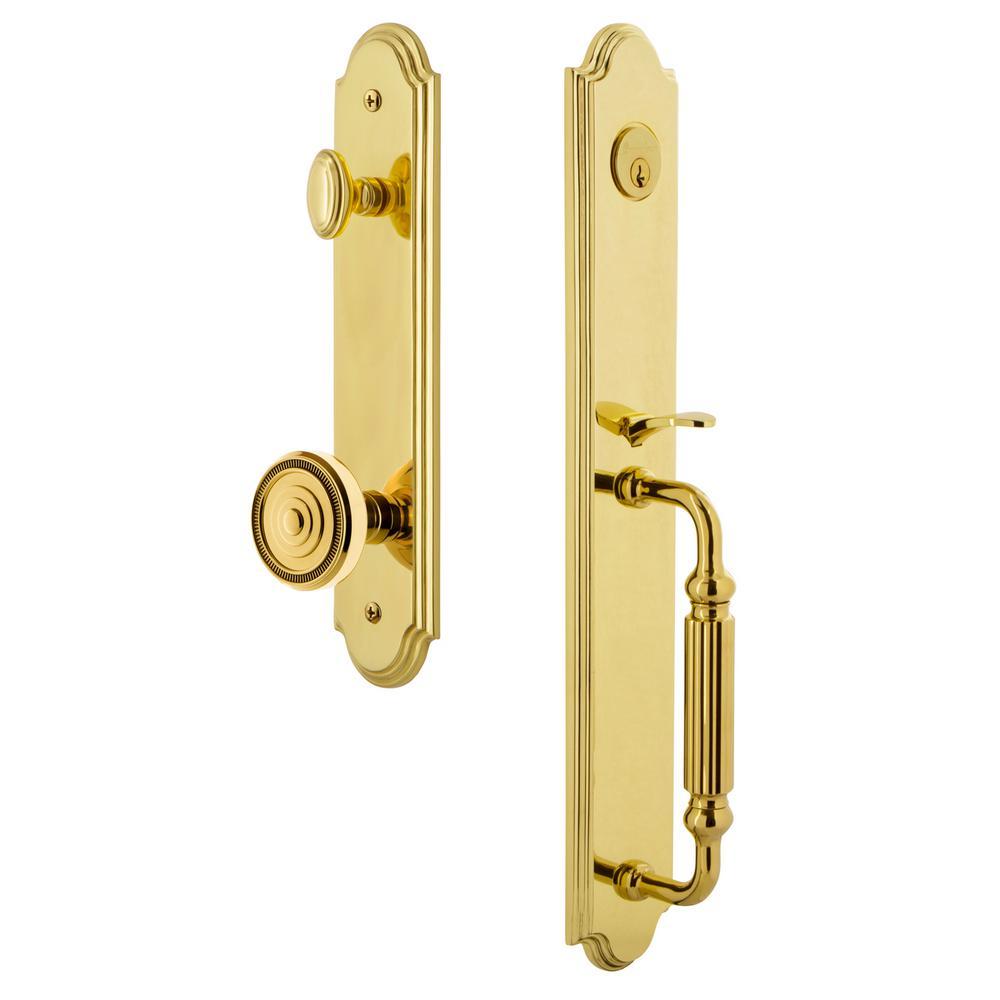 2.375 Lifetime Brass Passage Grandeur Georgetown Rosette with Fifth Avenue Knob