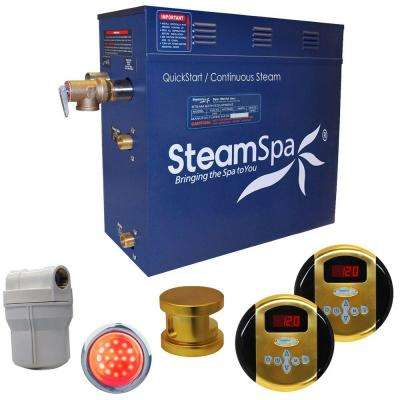 Royal 6kW Steam Bath Generator Package in Polished Brass