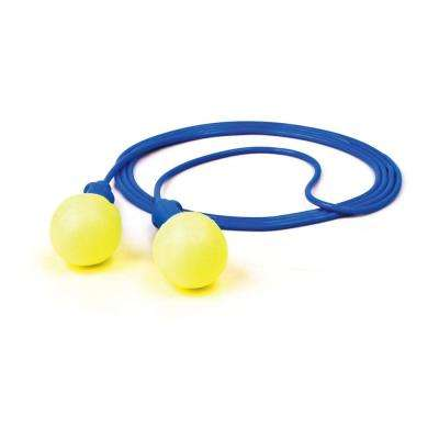 E-A-R Blue Corded Yellow Push-Ins Earplugs with Poly Bag - NRR 28 dB (Case of 400-Pairs)