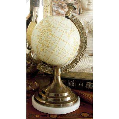 11 in. x 6 in. Nautical Decorative Aluminum and Marble Globe