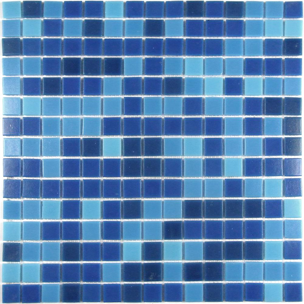Swimming Pool Superiority Blue Square Mosaic 1 in. x 1 in. Glass Wall Pool  and Floor Tile (1.15 Sq. ft.)