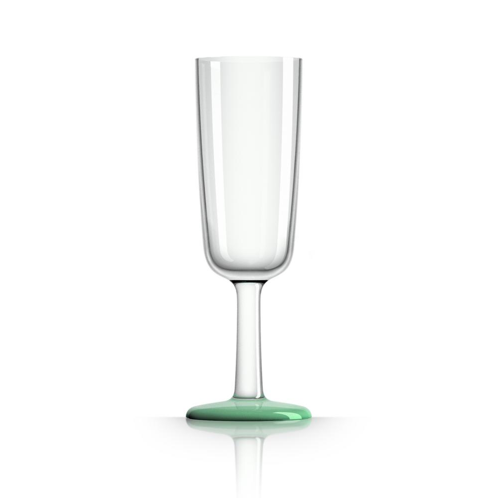 Marc Newson 6 oz. Champagne Flute Tritan with Green Glow-in-the-dark Non-Slip