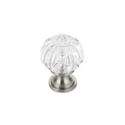 Eclectic 1-3/32 in. (28 mm) Clear Brushed nickel Round Cabinet Knob