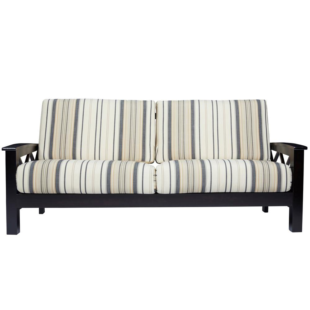 Charmant Handy Living Virginia X Design Sofa With Exposed Wood Frame In Brown And  Black Stripe