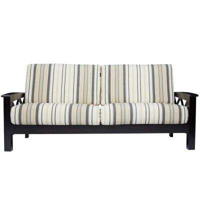 Virginia X Design Sofa with Exposed Wood Frame in Brown and Black Stripe
