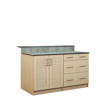 Key West 59.5 in. Outdoor Bar Cabinets with Countertop 2 Full Height Doors and 3-Drawer in Sand