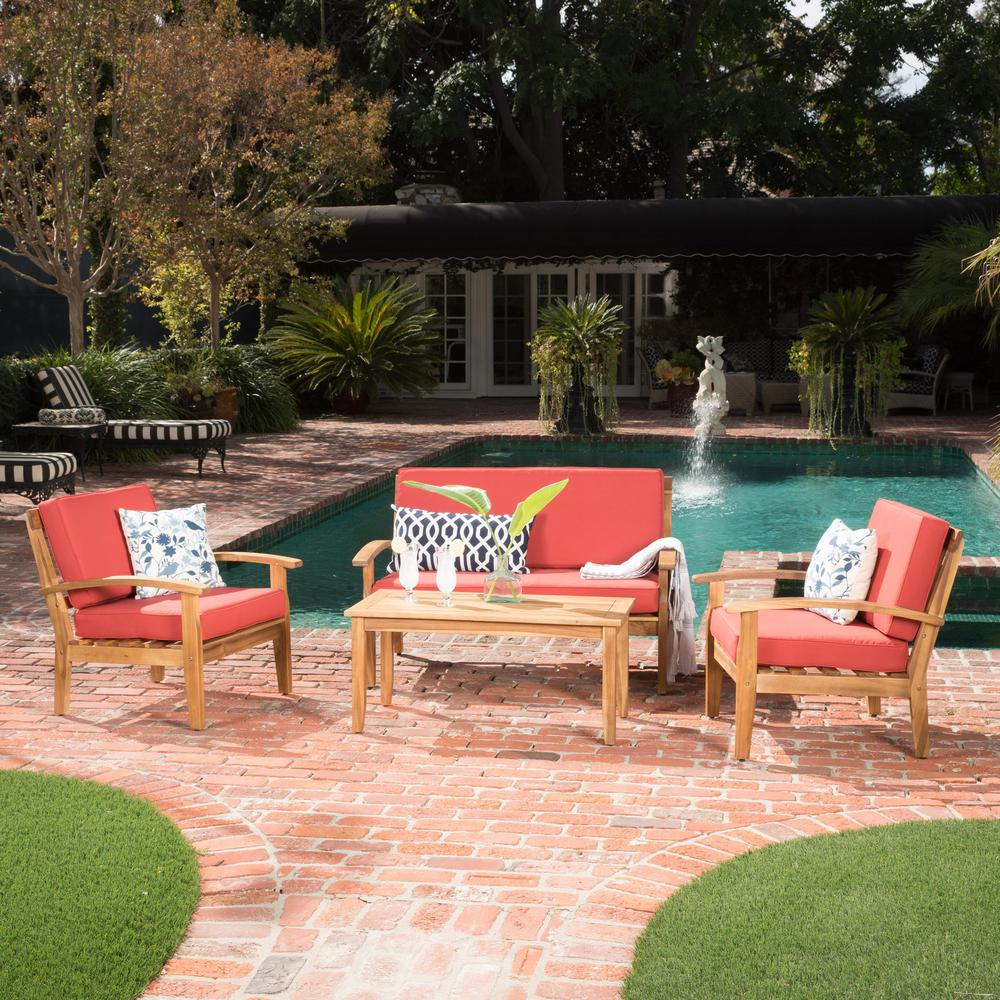 Noble House 4-Piece Wood Patio Seating Set with Red Cushions