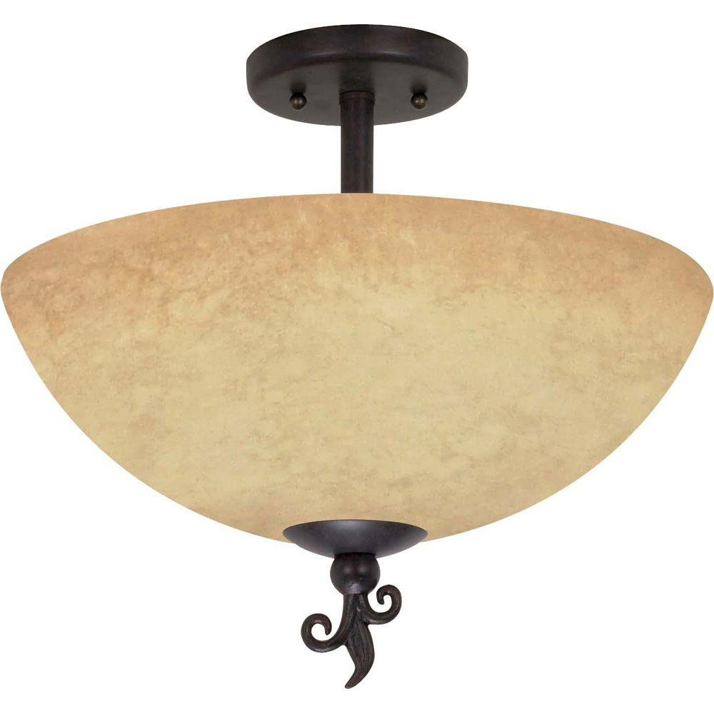 Glomar 3-Light Old Bronze Semi-Flush Mount Light with Tuscan Suede Glass