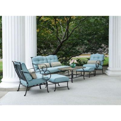 Oceana 6-Piece Patio Lounge Seating Set with Nepal Blue Cushions