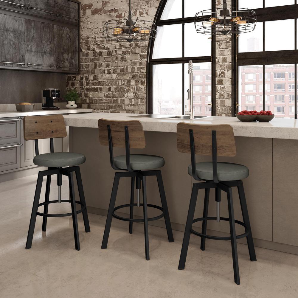 Amisco Symmetry Textured Black Metal Medium Grey Polyurethane Medium Brown Wood Adjustable Stool