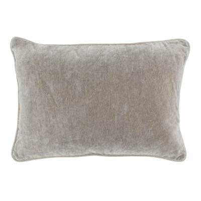 Heirloom Velvet 14 in. x 20 in. Rectangle Solid Stonewash Silver Decorative Pillow