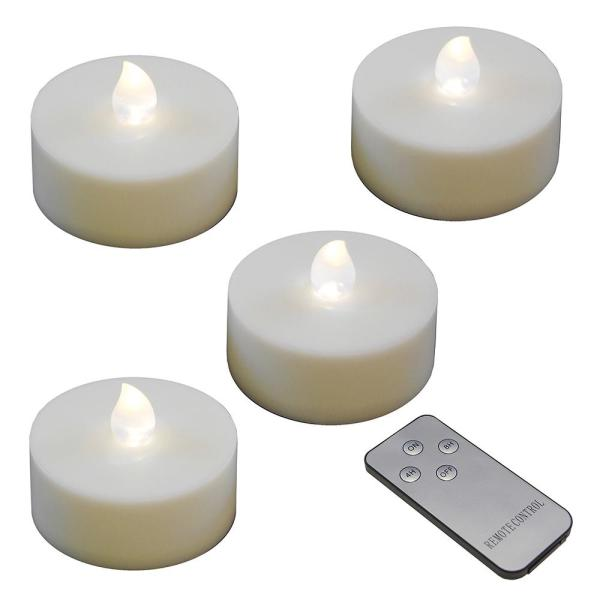 Lumabase Battery Operated Extra Large Tea Lights with Remote Control and