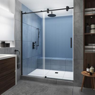 Langham XL 56 in. - 60 in. x 80 in. Frameless Sliding Shower Door with StarCast Clear Glass in Matte Black, Right Hand