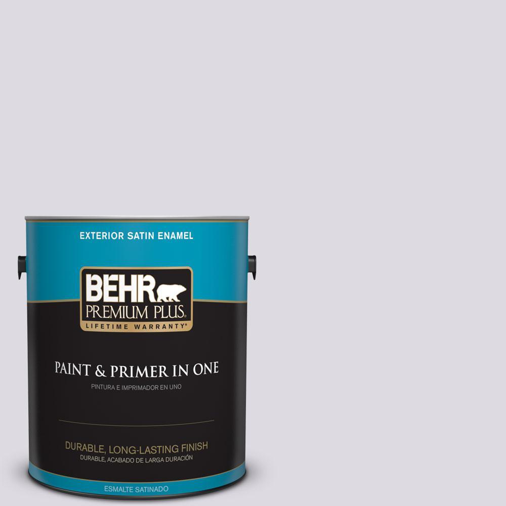 BEHR Premium Plus 1-gal. #PR-W1 Mystical Mist Satin Enamel Exterior Paint