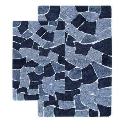 Boulder 21 in. x 34 in. and 24 in. x 40 in. 2-Piece Bath Rug Set in Silver Blue