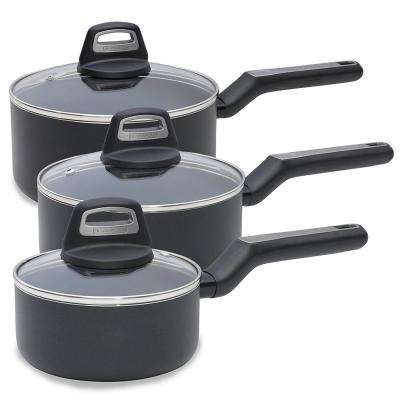 14 Piece Durable Titanium Nonstick Interior Cookware Set, Multi-Size, Black