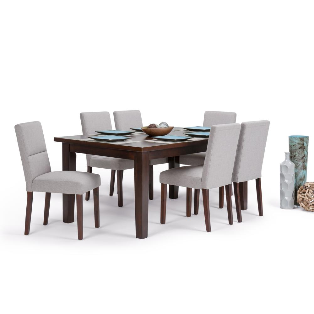 Simpli Home Ashford 7 Piece Dining Set With 6 Upholstered