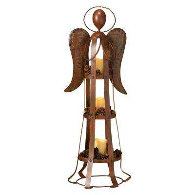 37 in. Metal Angel Candle Holder