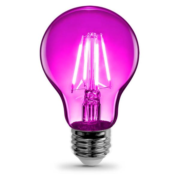 25-Watt Equivalent A19 Medium E26 Base Dimmable Filament Pink Colored LED Clear Glass Light Bulb (6-Pack)