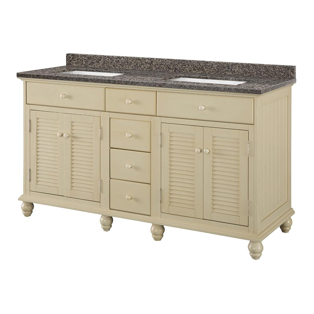 Home Decorators Collection Cottage 61 in. W x 22 in. D Vanity in Antique White with Granite Vanity Top in Sircolo with White Sink was $1679.0 now $1175.3 (30.0% off)