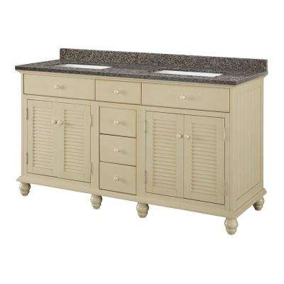 Cottage 61 In. W X 22 In. D Vanity In Antique White With Granite
