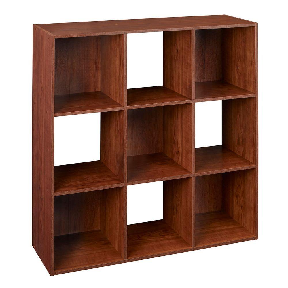 36 in. x 36 in. Dark Cherry Stackable 9-Cube Organizer