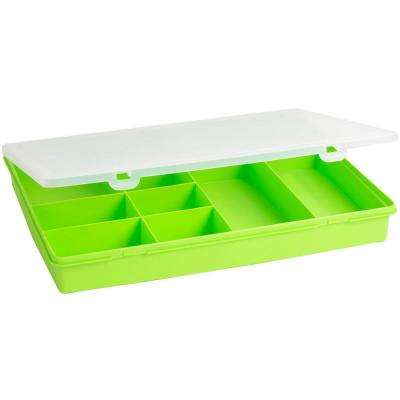 15 in. 10-Compartment Small Parts Organizer Box in Lime