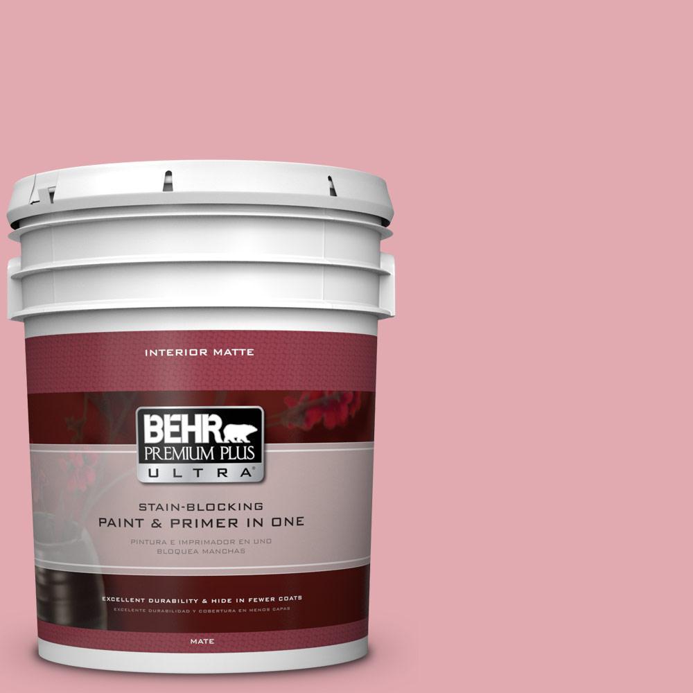 BEHR Premium Plus Ultra 5 gal. #130C-3 Raspberry Lemonade Flat/Matte Interior Paint