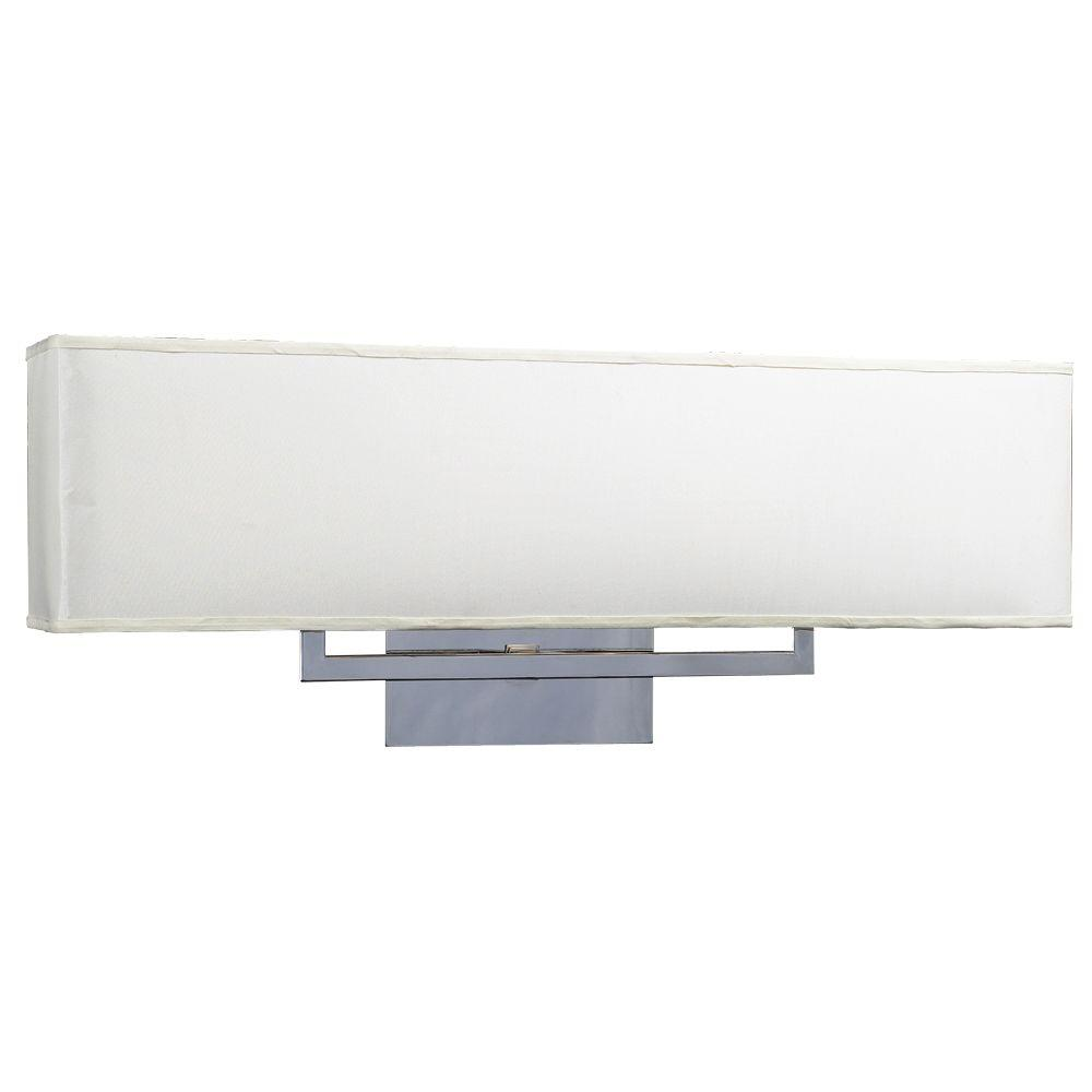 3-Light Polished Chrome Bath Vanity Light with Off-White Fabric Shade