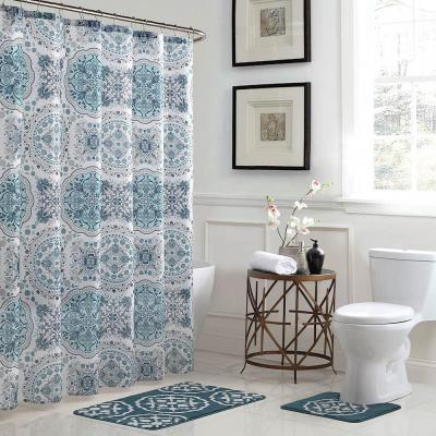 Blue Shower Curtains Shower Accessories The Home Depot