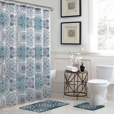 Caroline Geometric 18 in. x 30 in. Bath Rug and 72 in. x 72 in. Shower Curtain 15-Piece Set in Teal/Grey