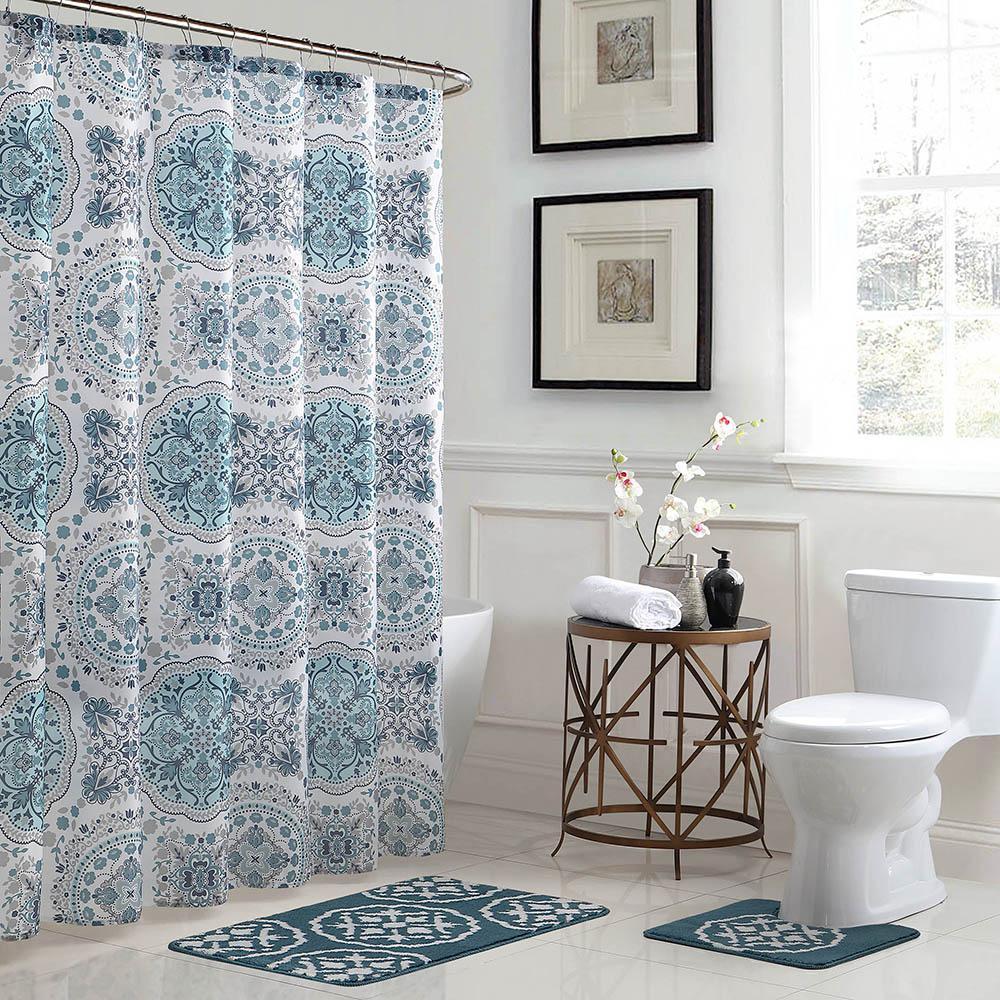 Bath Fusion Caroline Geometric 18 in. x 30 in. Bath Rug and 72 in. x 72 in. Shower Curtain 15-Piece Set in Teal/Grey