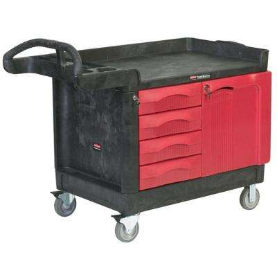 Rubbermaid Commercial Products 26.25 Small Utility Cart in Red/Black with 4 Drawers and Cabinet by Rubbermaid Commercial Products