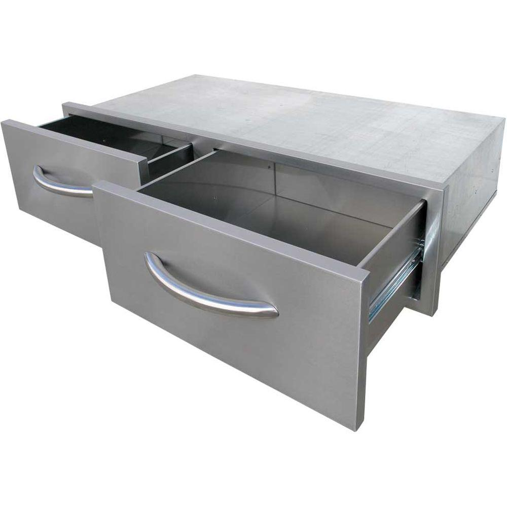 Wide Outdoor Kitchen Stainless Steel 2 Drawer Horizontal Storage