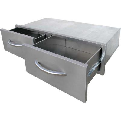 39.25 in. Wide Outdoor Kitchen Stainless Steel 2-Drawer Horizontal Storage