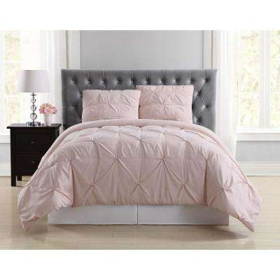 Everyday Pleated Blush Twin XL Comforter Set
